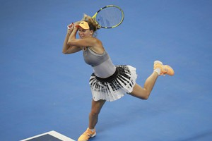 epa07898172 Caroline Wozniacki of Denmark in action during her women's singles semi-finals match against Naomi Osaka of Japan at the China Open Tennis tournament in Beijing, China, 05 October 2019.  EPA/HOW HWEE YOUNG (ANSA)